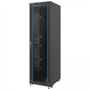 """Szafa rack 19"""" 42U 600x800, stojąca, z szybą, czarna (Lanberg FF02-6842L-12B)"""