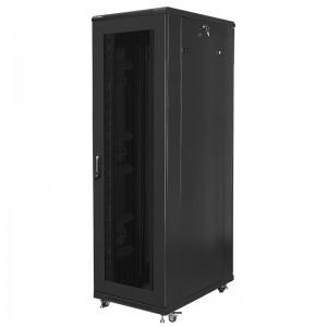 """Szafa rack 19"""" 42U 800x1000, stojąca, perforacja, czarna (Lanberg FF01-8042-23B)"""