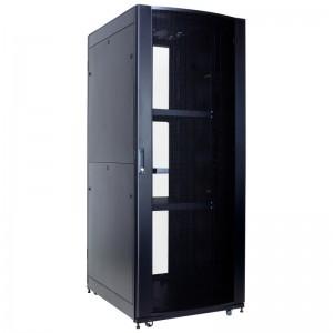 """Szafa rack 19"""" 42U 800x800, stojąca, perforowana, czarna, szybki montaż (Linkbasic NCI42-88-KLA-C)"""