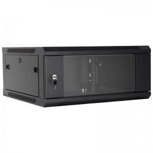 """Szafa rack 19""""  4U 600x600, wisząca, z szybą, jednosekcyjna, czarna (Base Link BL-SRW1904660SM-1C)"""
