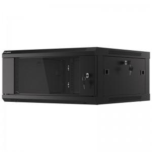 """Szafa rack 19"""" 4U 600x600, wisząca, z szybą, jednosekcyjna, czarna (Lanberg WF01-6604-10B)"""