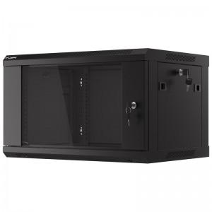 """Szafa rack 19"""" 6U 600x450, wisząca, z szybą, jednosekcyjna, czarna (Lanberg WF01-6406-10B)"""