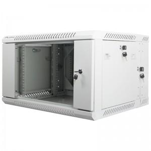 """Szafa rack 19"""" 6U 600x600, wisząca, z szybą, dwusekcyjna, szara (Lanberg WF02-6606-10S)"""