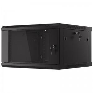 """Szafa rack 19"""" 6U 600x600, wisząca, z szybą, jednosekcyjna, czarna (Lanberg WF01-6606-10B)"""