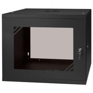 """Szafa rack 19"""" 9U 525x450, wisząca, z szybą, jednosekcyjna, czarna (Stalflex)"""