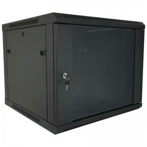 """Szafa rack 19"""" 9U 600x450, wisząca, z szybą, jednosekcyjna, czarna (Base Link BL-SRW1909645SM-1C)"""
