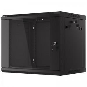 """Szafa rack 19"""" 9U 600x450, wisząca, z szybą, jednosekcyjna, czarna (Lanberg WF01-6409-10B)"""