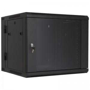 """Szafa rack 19"""" 9U 600x540, wisząca, z szybą, dwusekcyjna, czarna (Base Link BL-SRW190954SM-2C)"""