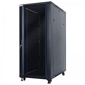 """Szafa rack 19"""" 27U 600x1000, stojąca, z szybą, czarna (STLFSC-27U-610-GSB)"""