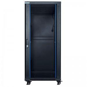 """Szafa rack 19"""" 32U 600x800, stojąca, z szybą, czarna (STLFSC-32U-68-GSB)"""