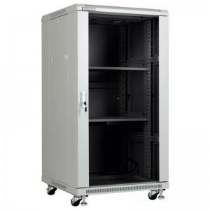 """Szafa rack 19"""" 22U 600x600, stojąca, z szybą, szara (Linkbasic NCB22-66-BAB-C-STD)"""
