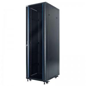 """Szafa rack 19"""" 42U 600x1000, stojąca, z szybą, czarna (STLFSC-42U-610-GSB)"""