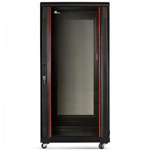 """Szafa rack 19"""" 27U 600x800, stojąca, z szybą, czarna"""