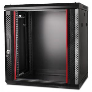 """Szafa rack 19"""" 12U 600x450, wisząca, z szybą, jednosekcyjna, czarna (Getfort WGF12-64EH-WGB)"""