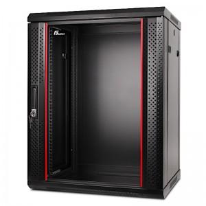"""Szafa rack 19"""" 15U 600x450, wisząca, z szybą, jednosekcyjna, czarna (Getfort WGF15-64EH-WGB)"""