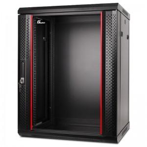 """Szafa rack 19"""" 15U 600x600, wisząca, z szybą, jednosekcyjna, czarna (Getfort WGF15-66EH-WGB)"""