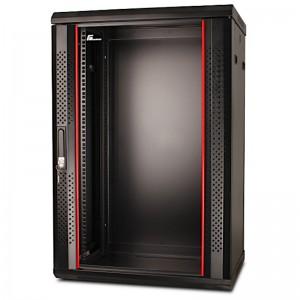 """Szafa rack 19"""" 18U 600x450, wisząca, z szybą, jednosekcyjna, czarna"""