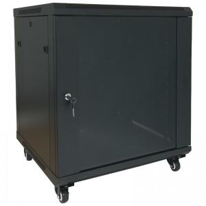 """Szafa rack 19"""" 9U 600x600, stojąca / wisząca, z szybą, czarna (Base Link BL-SRW1909660SMK-1C)"""