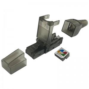Złącze modularne UTP kat.5e, beznarzędziowe, 3 częściowe, czarne