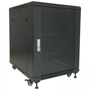 """Szafa rack 19"""" 15U 600x600, stojąca, z szybą, czarna (Base Link BL-SRS1915660SM-1C)"""