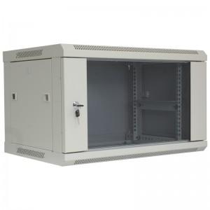 """Szafa rack 19"""" 6U 600x600, wisząca, z szybą, jednosekcyjna, szara (Base Link BL-SRW1906660SM-1S)"""