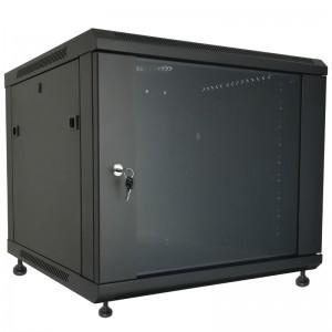 """Szafa rack 19"""" 9U 600x450, stojąca / wisząca, z szybą, czarna (Base Link BL-SRW1909645SM-1CT)"""