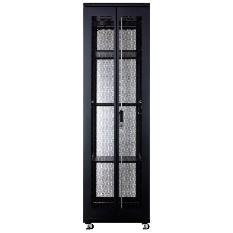 """Szafa rack 19"""" 42U 600x800, stojąca, perforowana, czarna (Linkbasic NCB42-68-IFA-C)"""