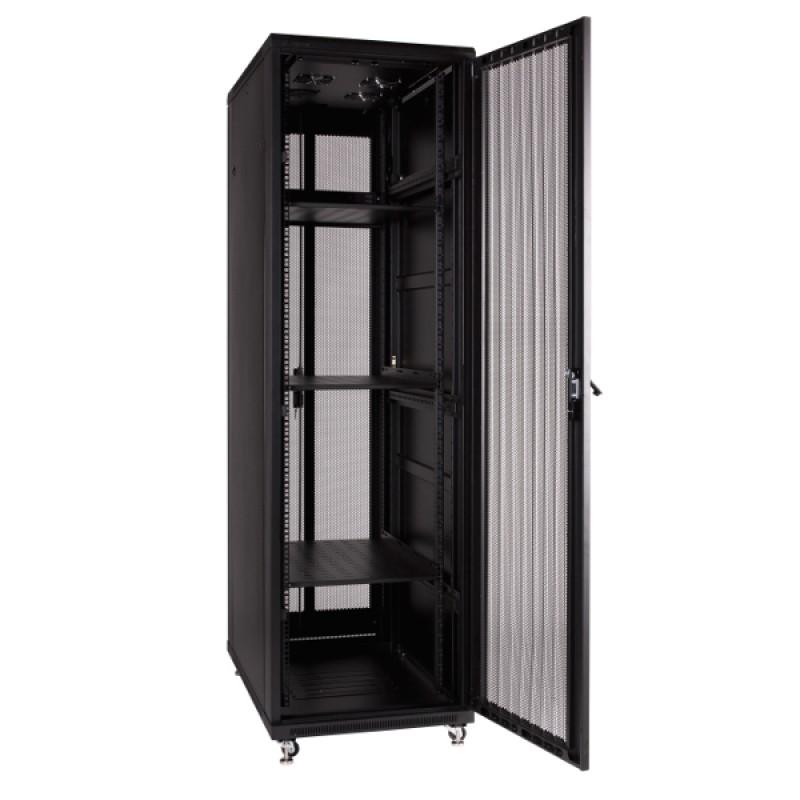 """Szafa rack 19"""" 42U 600x1000, stojąca, perforowana, czarna (Linkbasic NCB42-610-IFA-C)"""