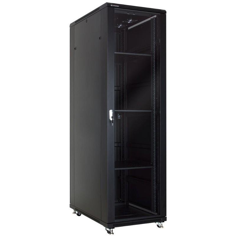 """Szafa rack 19"""" 42U 600x1000, stojąca, z szybą, czarna (Linkbasic NCB42-610-BAA-C)"""