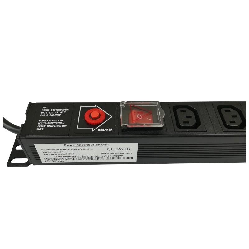 Listwa zasilająca 230V rack, pionowa, 12 gniazd UPS (C13) z wyłącznikiem i zabezpieczeniem, 1.8m