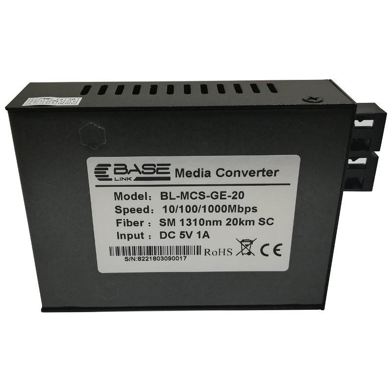 Media konwerter 10/100/1000 Mbps, SM 1310nm, 20km (Base Link BL-MCSGE-20)