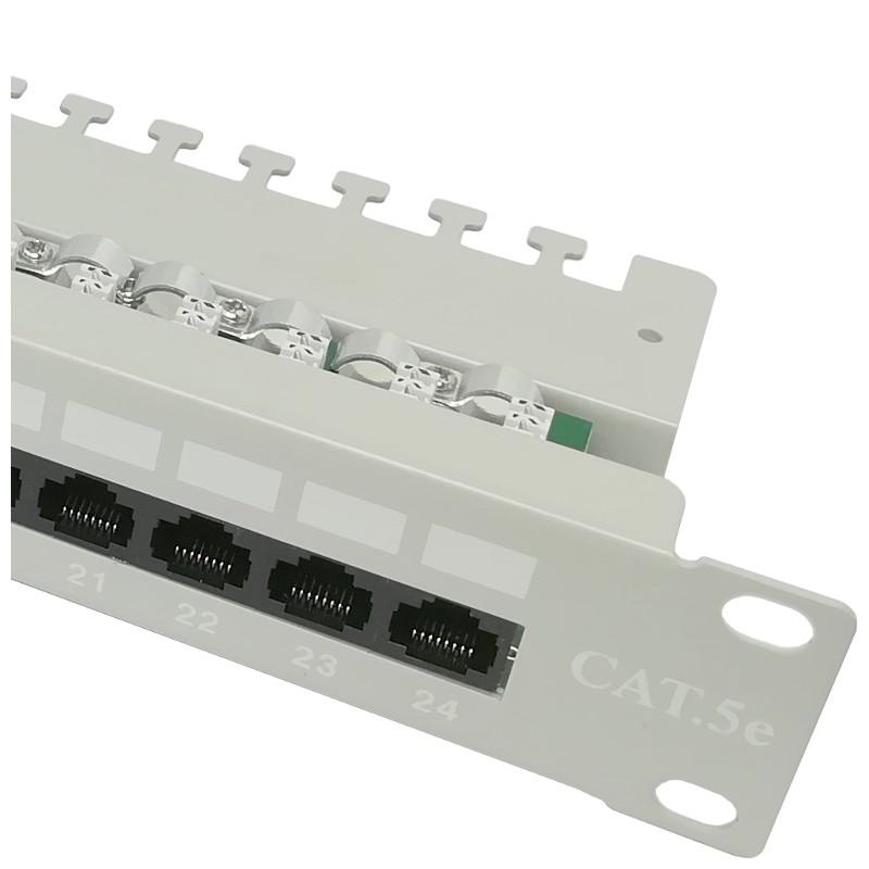 """Patch panel UTP 19"""" 24x RJ45 kat.5e tacka złącza KRONE, szary"""