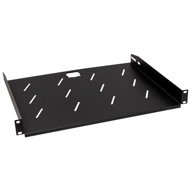 """Półka z otworami 350mm 1U, 19"""", czarna"""