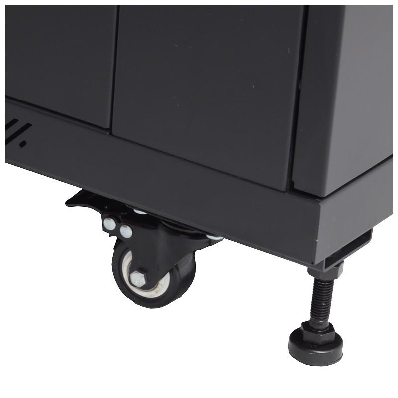 """Szafa rack 19"""" 27U 600x1000, stojąca, z szybą, czarna (Base Link BL-SRS19276100SM-1C)"""