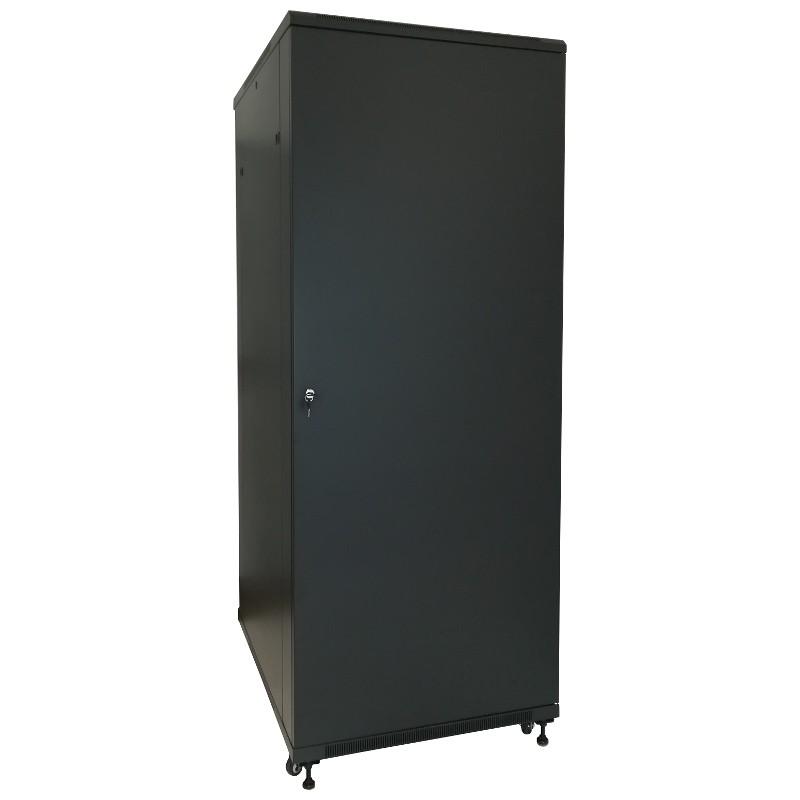 """Szafa rack 19"""" 30U 800x1000, stojąca, z szybą, czarna (Base Link BL-SRS19308100SM-1C)"""