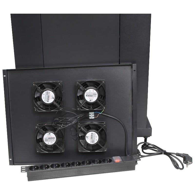 """Szafa rack 19"""" 38U 600x800, stojąca, z szybą, czarna (Base Link BL-SRS1938680SM-1C)"""
