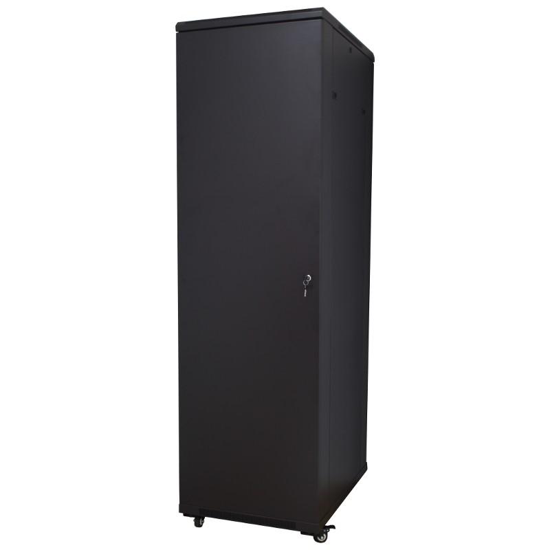 """Szafa rack 19"""" 42U 600x1000, stojąca, z szybą, czarna (Base Link BL-SRS19426100SM-1C)"""