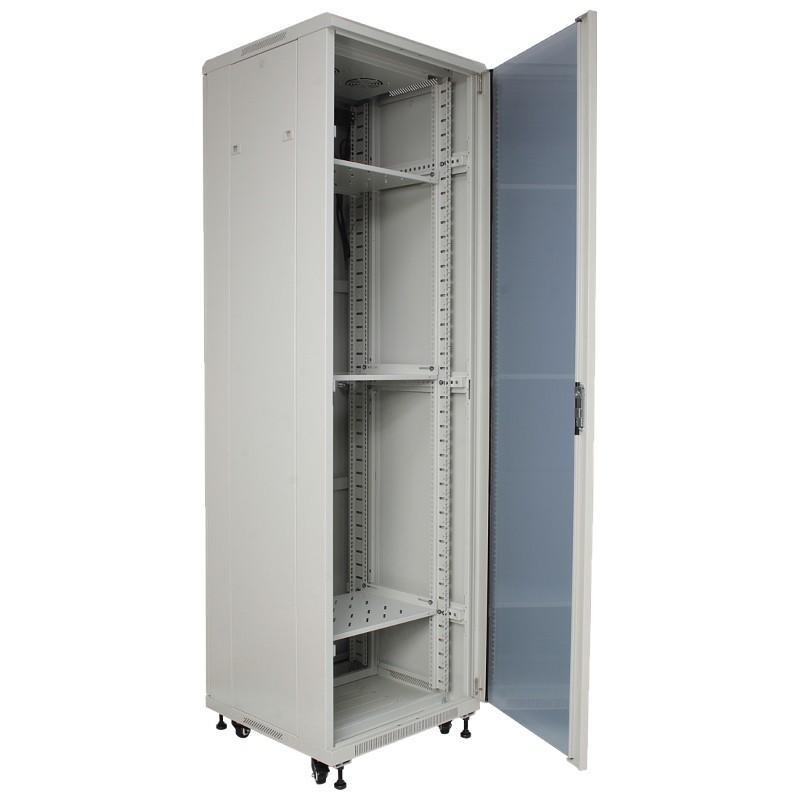 "Szafa rack 19"" 42U 600x1000, stojąca, z szybą, szara (Base Link BL-SRS19426100SM-1S)"