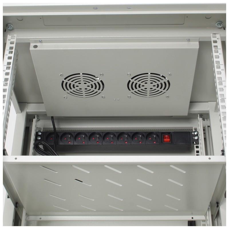 "Szafa rack 19"" 42U 600x600, stojąca, z szybą, szara (Base Link BL-SRS1942660SM-1S)"