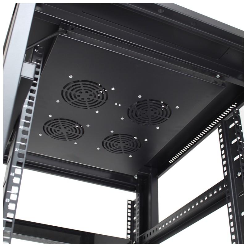 """Szafa rack 19"""" 42U 600x800, stojąca, z perforacją, czarna (Base Link BL-SRS19426100PM-1C)"""