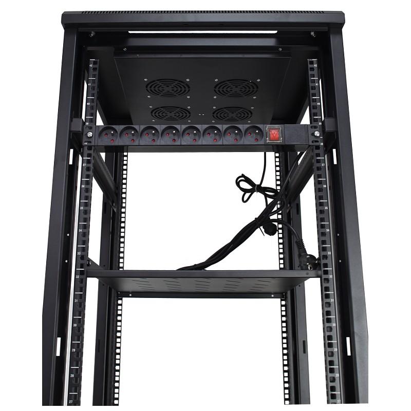 """Szafa rack 19"""" 42U 600x800, stojąca, z szybą, czarna (Base Link BL-SRS1942680SM-1C)"""