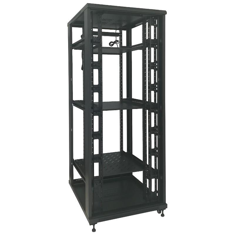 """Szafa rack 19"""" 42U 800x1000, stojąca, z szybą, czarna (Base Link BL-SRS19428100SM-1C)"""