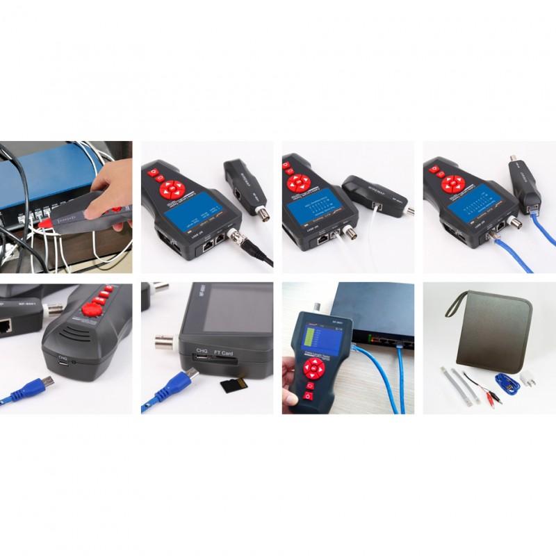 Tester okablowania LCD z szukaczem/skanerem kabli, RJ-45, RJ-11, BNC, ping, poe (NF-8601W)