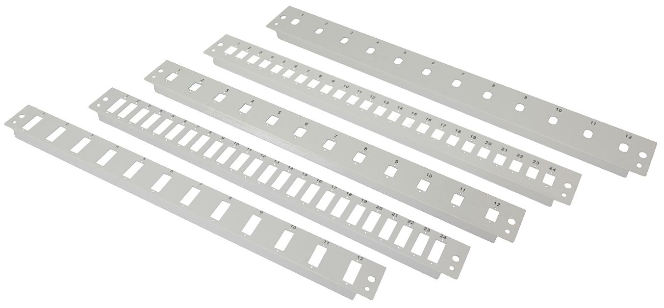 Płyty czołowe do przełącznicy światłowodowej (m.in. 12/24 x SC simplex, 12/24 x SC duplex, 12x ST simplex)